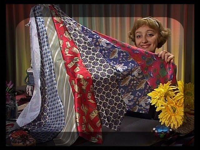 Шьем колье воротник сарафан сумку и броши из старых галстуков Мастер класс Татьяна Лазарева