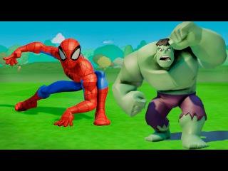 СУПЕРГЕРОИ!! Человек Паук и Халк играют с машинками ТАЧКИ дисней. Игра МУЛЬТИК - Hulk & Spider Man