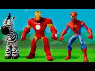 Игра МУЛЬТИК - Супергерои Человек Паук и Железный Человек играют с машинками ТАЧКИ ДИСНЕЙ.Игра детям