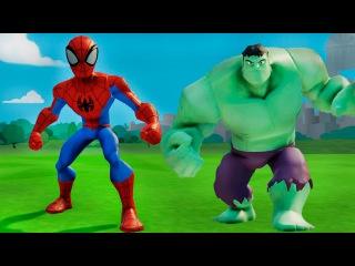 Мультик про супергероев - Человек Паук и Халк играют с машинками ТАЧКИ дисней. Игра ДИСНЕЙ для детей