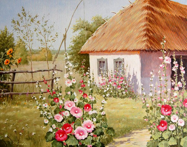 "A picture ""Summer, little hata, mallows"" by Serhiy Kol'ba. On the right side of the picture, there is a one-storey rural house. It's white, likely to be made of clay, and  and the roof is made of straw. Near the house, red, pink and white mallows bloom. A road goes from our side of the picture to the house, and mallows bloom near this road too, just near us. On the left side, a simplistic wooden fence is seen. Tall sunflowers grow behind the fence, blooming with yellow flowers. In the back, a well can be seen, and a big field with some trees."