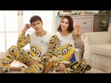 Autumn Long-sleeve Cartoon Women Home Clothing Couples Matching Pajamas Adult Minion Pajamas 2 Piece Sets Lovers sleepwear