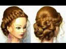 Прическа для средних и длинных волос. Французские косы и букли.