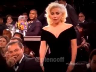 Реакция Леонардо ДиКаприо на Леди Гагу на премии «Золотой глобус 2016»