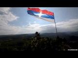Установка нового флага на холме Звечан на Косове, и формирование креста на флаге солнечным лучами [11.05.2015]