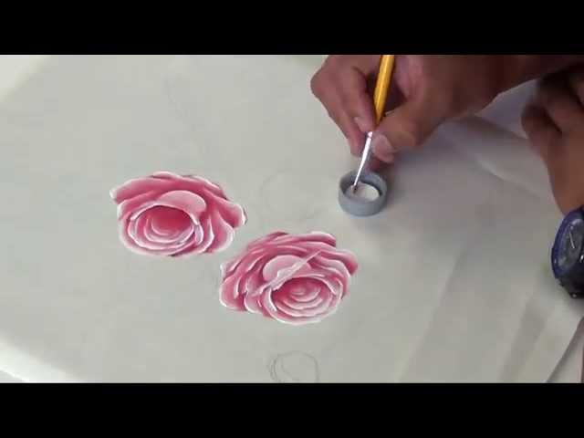 Como pintar Rosas rosadas en Tela (1/2)