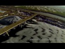Isolated bridge on a frozen lake Aerial Video Podul si ecluza de la Budesti