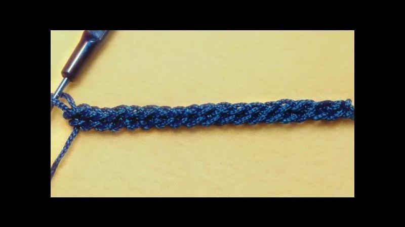 Обучение крючком. Наборной ряд - двойная цепочка.Education hook. Typesetting row - double chain.