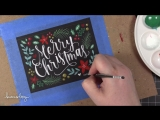Brush Lettering  Hand Painted Christmas Card