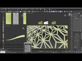 Grid structures 02: grid structures built out of 2D surfaces and 3D objects in 3ds max