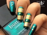 Gold x Silver Strip Stamping Nail Art