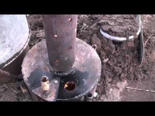 Отопление теплицы, печь на отработке часть 2