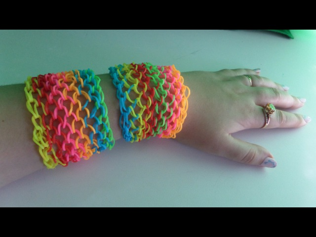 Плетение широкого браслета из резинок Rainbow Loom. Чешуя дракона.