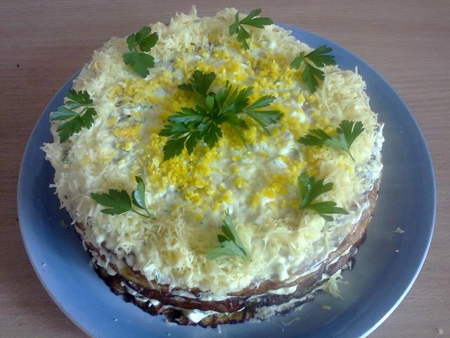 Закусочный торт из кабачков. Snack cake zucchini.