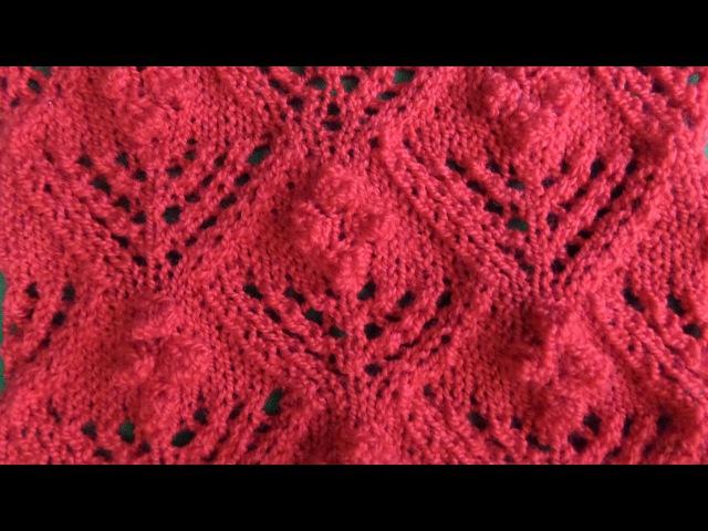 Вязание узора с шишечками спицами Волшебные цветы. Knitting(Hobby).