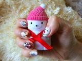 Маникюр на новый год 2016 Зимний дизайн Маникюр дома На короткие ногти Christmas nail Шеллак