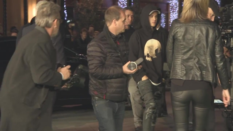 Ed Sheeran and Justin Bieber at the Jumpers for Goalposts World Premiere
