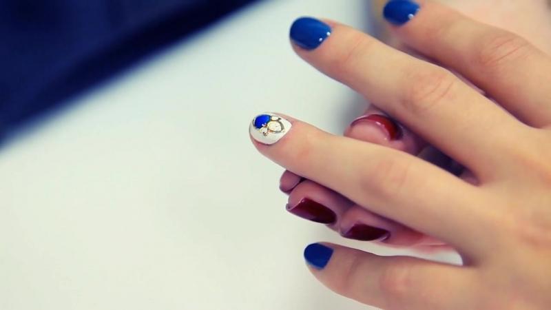 Дизайн ногтей на гель лаке Жидкие камни