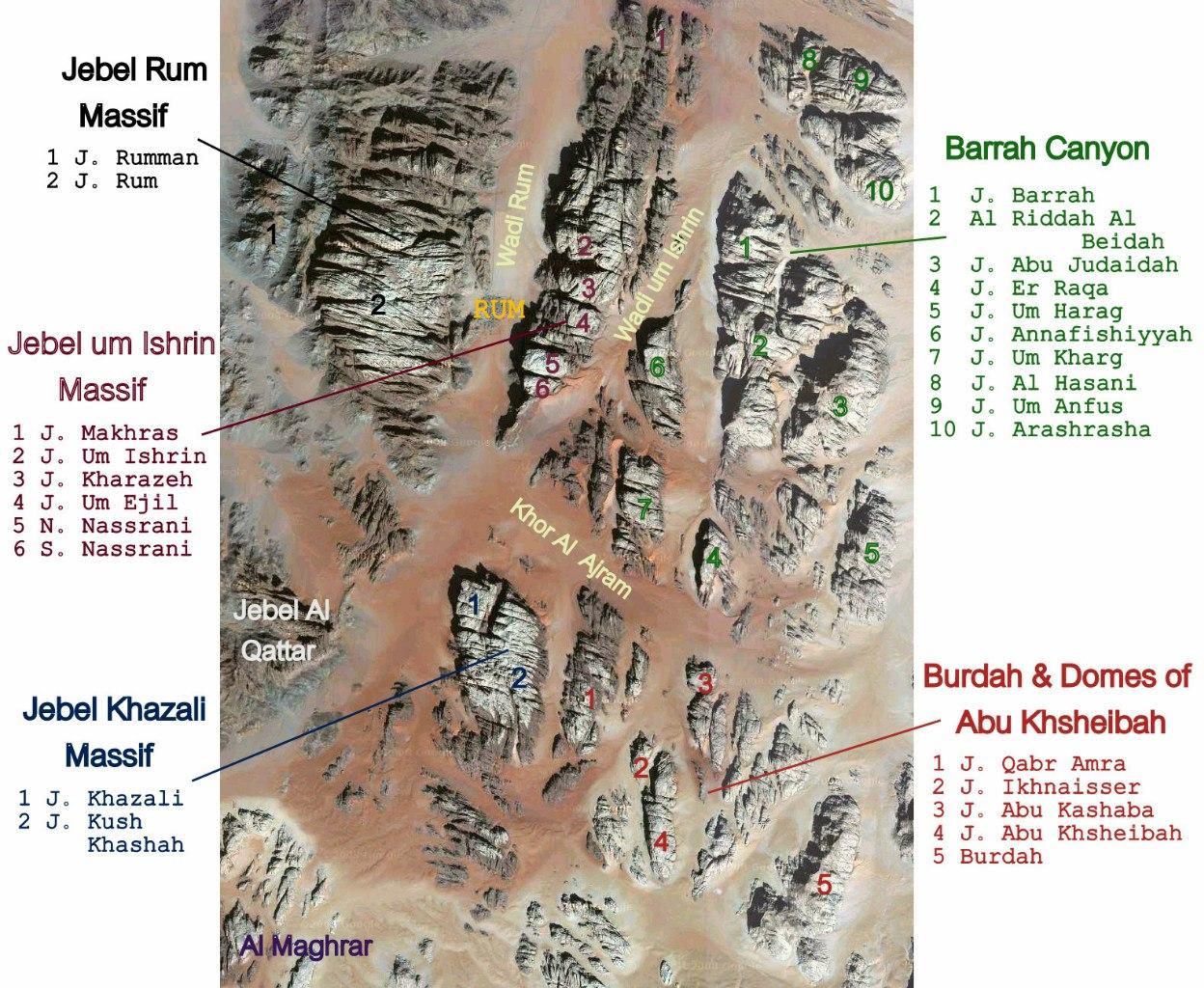 Рельефная карта заповедника Вади Рам