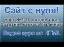 Сайт с нуля Урок №2 Понятие тэга. Создание каркаса страницы Видео курс по HTML