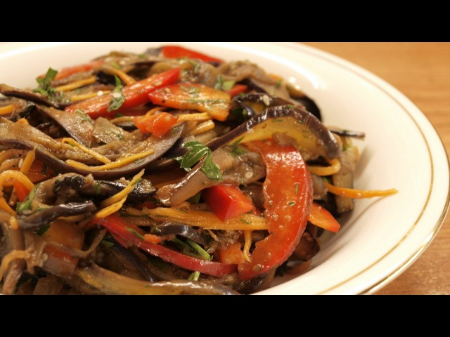 корейский салат с баклажанами и капустой
