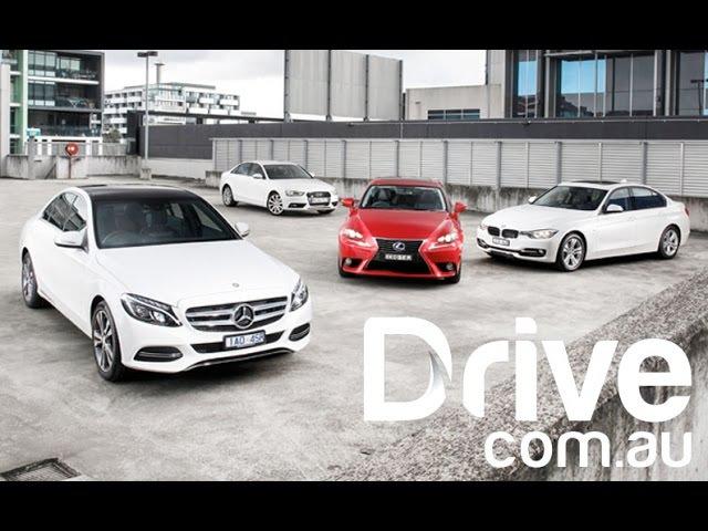 2014 C-Class v A4 v 320i v IS300h   Mid-size luxury sedans comparison   Drive.com.au