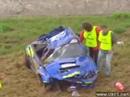 Petter Solberg destroys his Subaru Impreza STI WRC crash