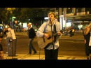 A band in Prague sings the Scientist. coldplay cover