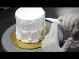 Очень простой и нежный способ как украсить края торта кремом (украшение праздничного торта)_