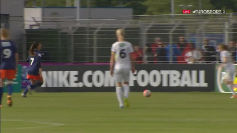 Anja Mittag scores to bring the teams level 2-2