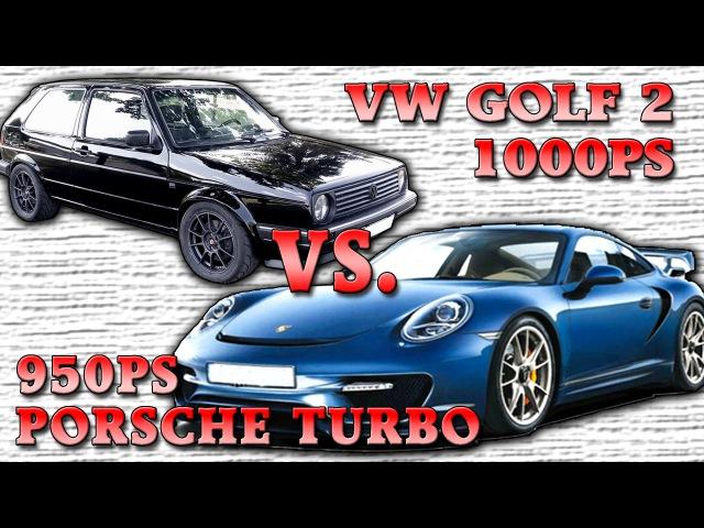 Boba VW Golf Mk2 AWD vs Porsche 996T 950HP street race 100 300kmh