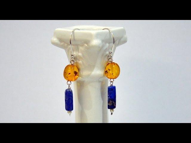 Earrings silver and semi precious stones, easy to handmade