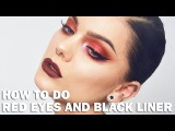 Red makeup with black eyeliner - Linda Hallberg Make up tutorials