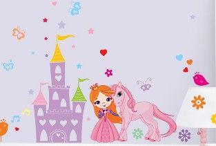 фото наклейка виниловая в комнату девочки сказка с принцессой и замком
