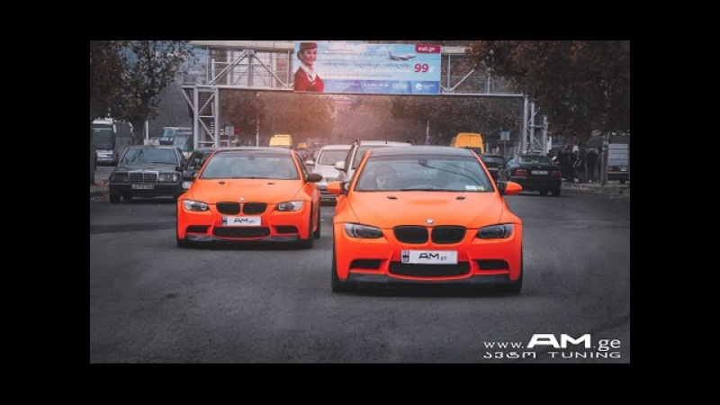 Two BMW M3 wrapped in Orange Matte by AM.ge