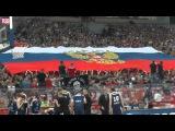 Сербы разворачивают флаг России и поют Катюшу