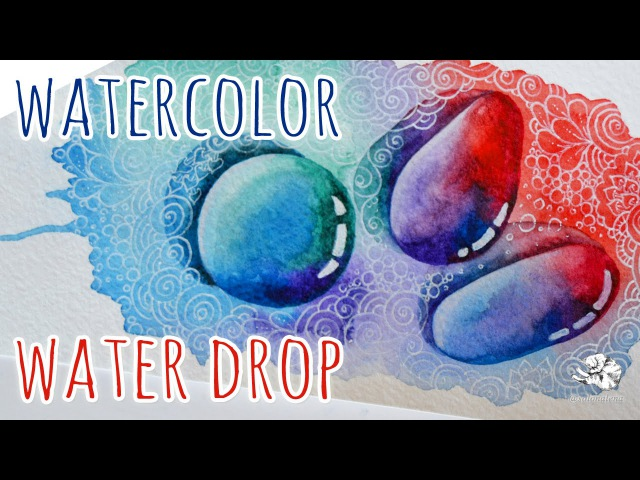 How to draw a water droplet | Watercolor Drawing | Zentangle Inspired Art