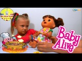 ✔ Alive Doll. Little girl Yaroslava feeds her new interactive Baby Doll / Video for kids / VLOG ✔