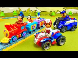 Щенячий Патруль и паровозик Микки Мауса с железной дорогой Paw Patrol and Train of Mickey Mouse
