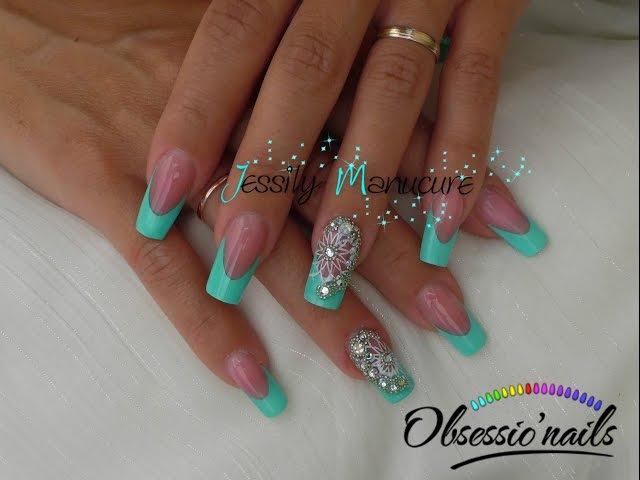 Ongle en gel Turquoise orientale astuce pour extension de plaque symétrique avec Obsessio'nail
