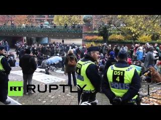 Швеция: Активисты Про-Рома митинг перед Мальме мэрии после лагеря цыган выселения.