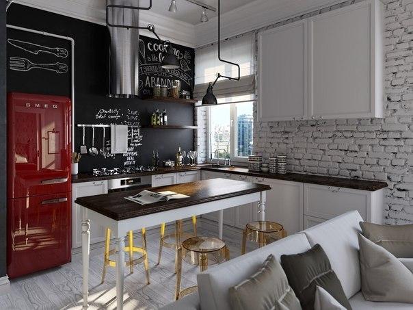 Квартира в скандинавском стиле и стиле лофт, 45 кв м, ФОТО