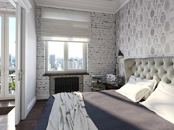Светло-серая с белым квартира в стиле лофт и скандинавский стиль, фото интерьера