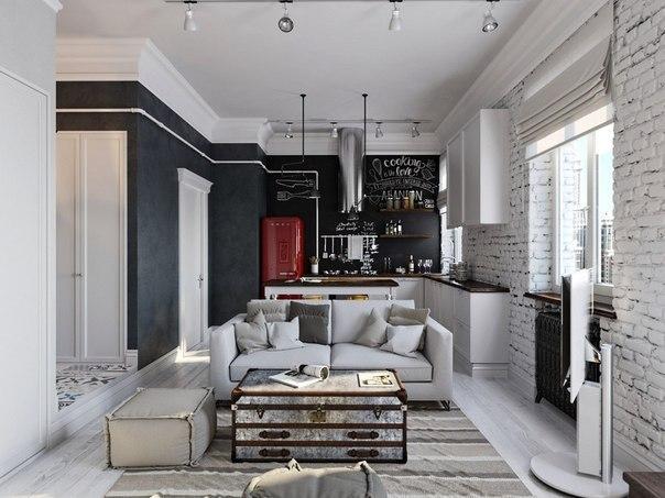 Квартира 45 кв. м в стиле лофт и скандинавский, в сером и белом цветах