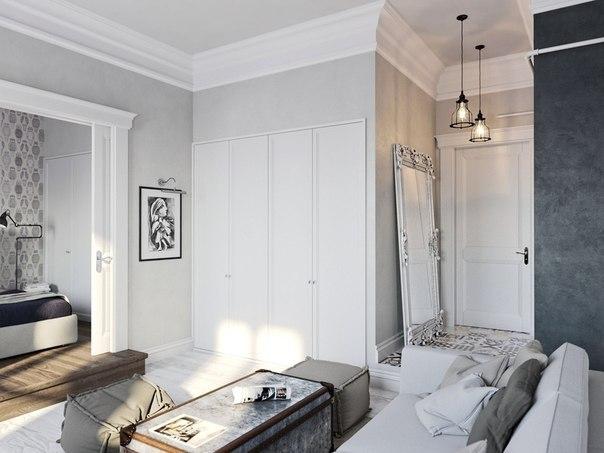 Квартира 45 кв. м в белом и сером цвете, ФОТО
