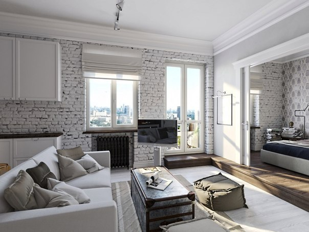 Светло-серая с белым квартира 45 квадратных метров, фото интерьера в стиле лофт