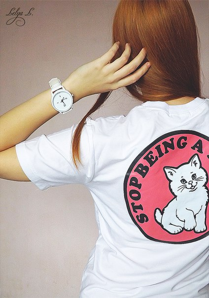 Забавная хлопковая футболочка STOP BEING A PUSSY Вполне отличная вещица