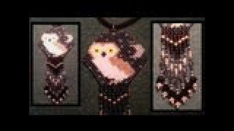 Beading4perfectionists : Brick stitch beaded owl pendant with Swarovski fringe beading tutorial