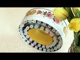 Органайзер для ниток из картона и коробки из под конфет