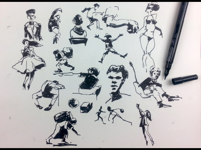 Gesture Drawing People Sketching with a Brush Pen